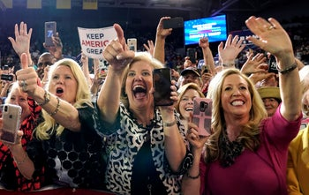 Supporters react as U.S. President Donald Trump holds a campaign rally in Greenville, North Carolina July 17, 2019.