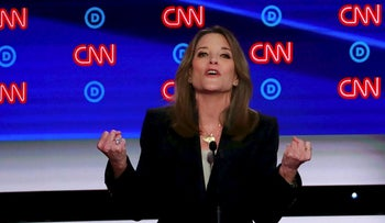 Candidate author Marianne Williamson gestures during the first night of the second 2020 Democratic U.S. presidential debate in Detroit, Michigan, July 30, 2019