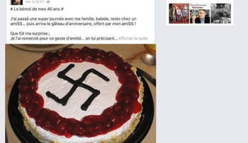 A birthday cake decorated with a swastika a french councilman received.