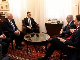 Jared Kushner, Senior Adviser to the U.S. President and Special Representative for International Negotiations Jason Greenblatt meet with Prime Minister Benjamin Netanyahu, Jerusalem, July 31, 2019.