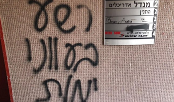 Hateful graffiti scrawled on a building of Amnesty International, reading: 'The wicked man shall die in his iniquity,' Tel Aviv, Israel, July 31, 2019.