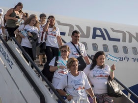 Immigrants from France arrive in Israel, June 21, 2018.