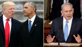 Presidents Donald Trump and Barack Obama in Washington, January 2017, and Prime Minister Benjamin Netanyahu speaking against the Iran deal in Congress, March 2015.