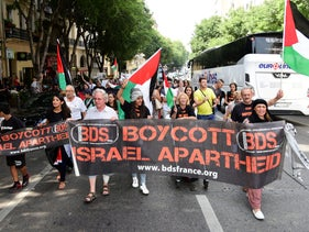 FILE Photo: Protesters during a BDS demonstration in Marseille, France, June 13, 2015.