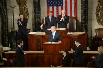 Prime Minister Benjamin Netanyahu speaking at the joint Congress Session in Washington, March 3, 2015.
