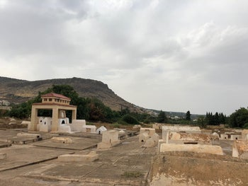 Sefrou's Jewish cemetery, with the mountain of the Cave of the Jew in the background.