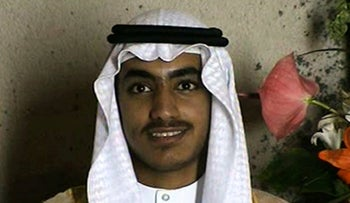 In this image from video released by the CIA, Hamza bin Laden is seen as an adult at his wedding, November 1, 2017.