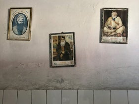 Photos of venerated rabbis in the prayer room of Casablanca's Jewish cemetery, taken on 3 July 2019