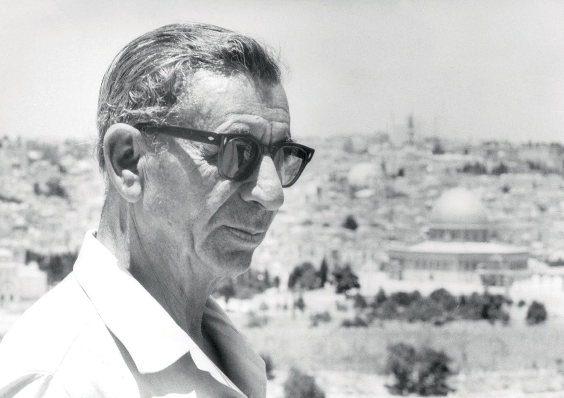 "Lansky in Jerusalem, 1970. ""I never say a bad word about Israel,"" he wrote to his lover, ""especially not next to Christians. We will do the dirty laundry in our kitchen."""