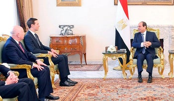 Egyptian President Abdel Fattah al-Sisi meeting with Kushner and his delegation in Cairo, August 1, 2019
