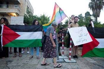 Protesters for LGBTQ rights in Haifa on August 1, 2019.
