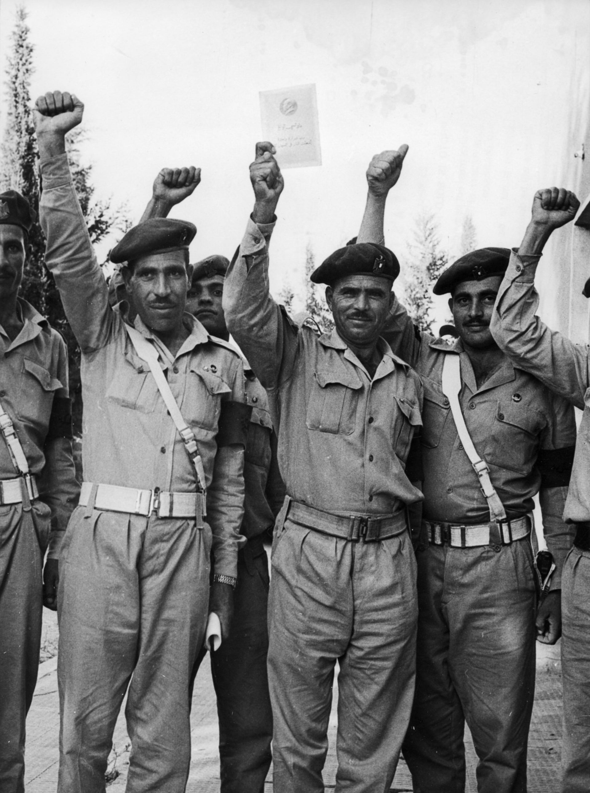 Fighters from the Palestine Liberation Army holding high Chairman Mao's works to express their respect and love for the Chinese communist leader in 1967.