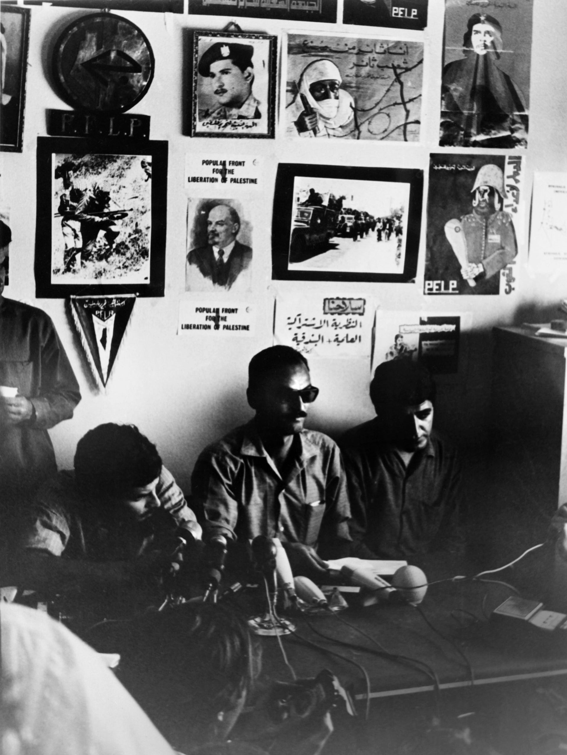 Members of the Popular Front for the Liberation of Palestine (PFLP) of George Habash delivers a press conference on September 14, 1970 after PFLP activists hijacked four planes.