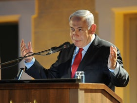 Netanyahu at an event in Atlit, May 15, 2019.