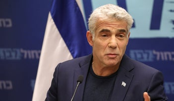 Kahol Lavan co-leader Yair Lapid at a press conference, May 13, 2019.