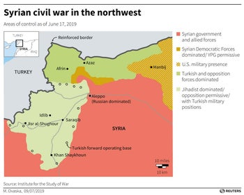 Syrian civil war in the northwest, areas of control as of June 17, 2019