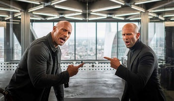 """Jason Statham and Dwayne Johnson in """"Fast & Furious Presents: Hobbs & Shaw."""""""