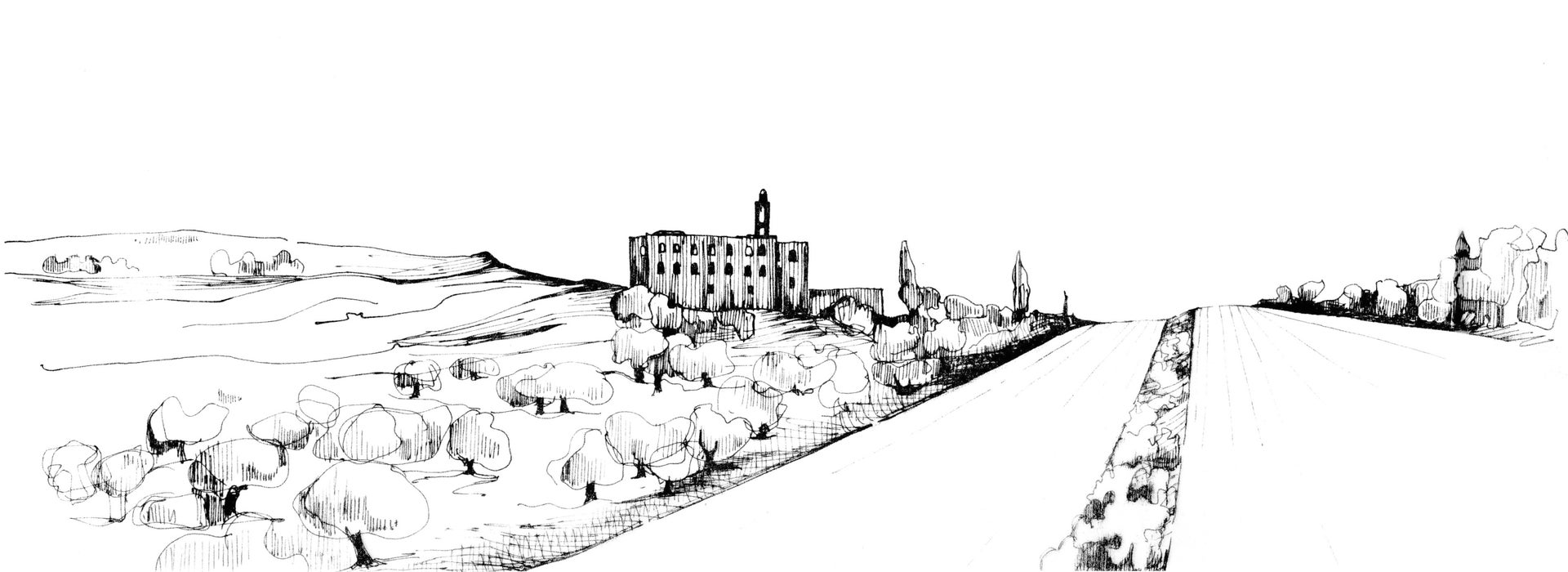 Sketch of Hebron Road, Jerusalem.