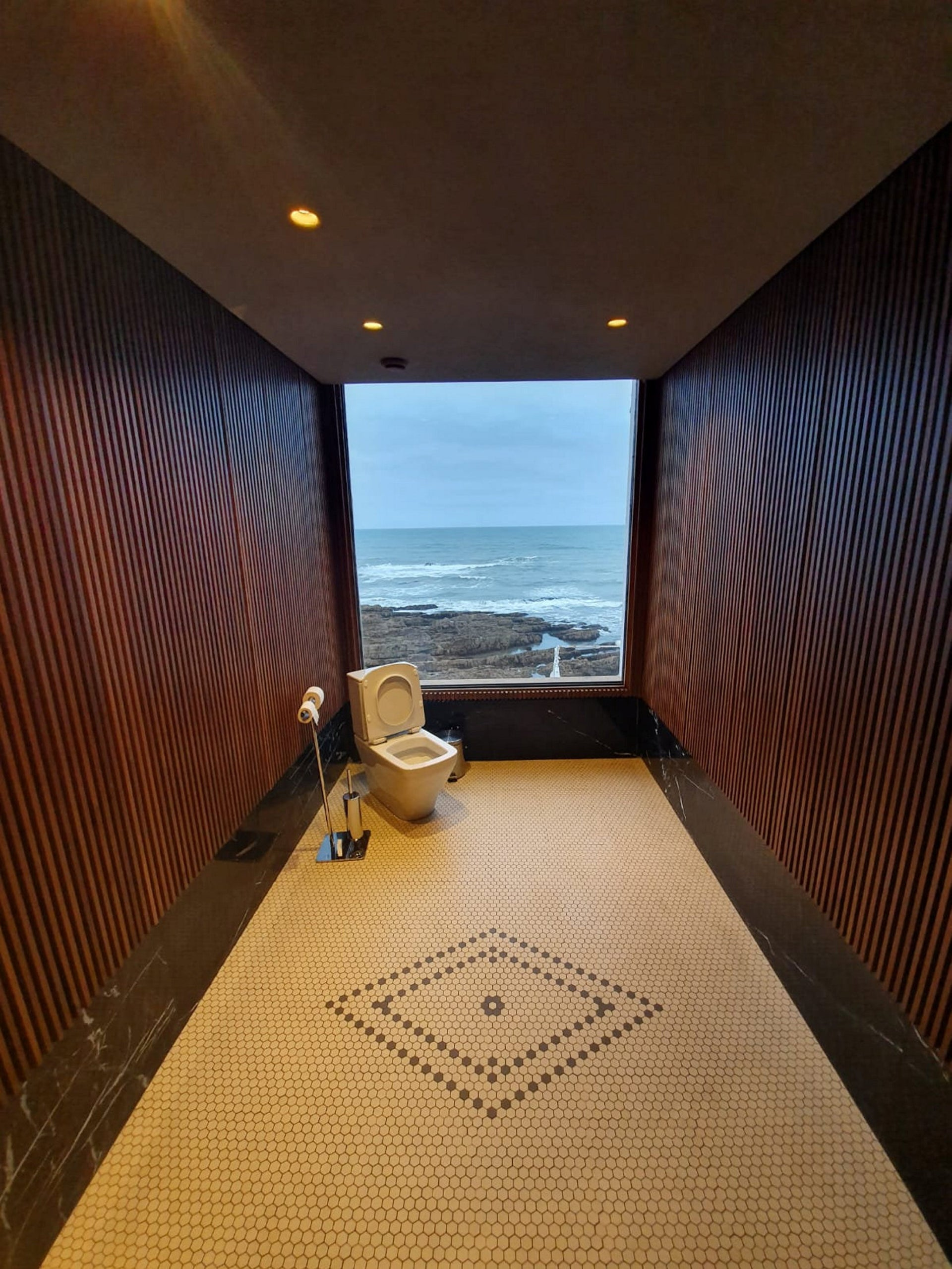 A restroom with a view: the stunning bathroom at Le Cabestan, a chic, modern restaurant in Casablanca.  Probably the most tagged location in Morocco.