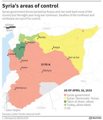 Map of the areas of control in Syria according to Carter Center