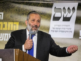 Shas leader Arye Dery at a party campaign, July 22, 2019.