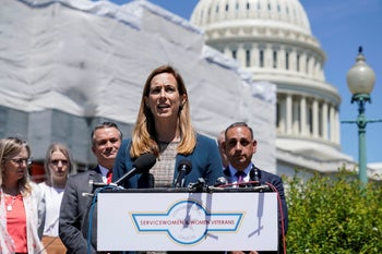Rep. Mikie Sherrill (D-NJ) speaks about the formation of the Congressional Servicewomen and Women Veterans Caucus on Capitol Hill in Washington, U.S., May 15, 2019.