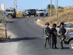 Israeli forces in the Gush Etzion area in the West Bank, August 8, 2019.