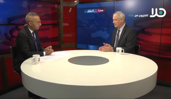 Kahol Lavan leader Benny Gantz talking on Hala TV, July 2019.