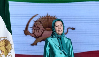 """Maryam Rajavi speaking during the conference """"120 Years of Struggle for Freedom Iran"""" at Ashraf 3 camp, which is a base for the Mujahedeen Khalq (MEK) in the Albanian town of Manëz, July 13, 2019."""