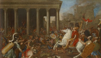 'The destruction of the Temple at Jerusalem,' a 1638 painting by Nicolas Poussin. 'At the end of my prayers, I do something I never thought I would do: I ask the Messiah to come and speedily rebuild the Temple.'