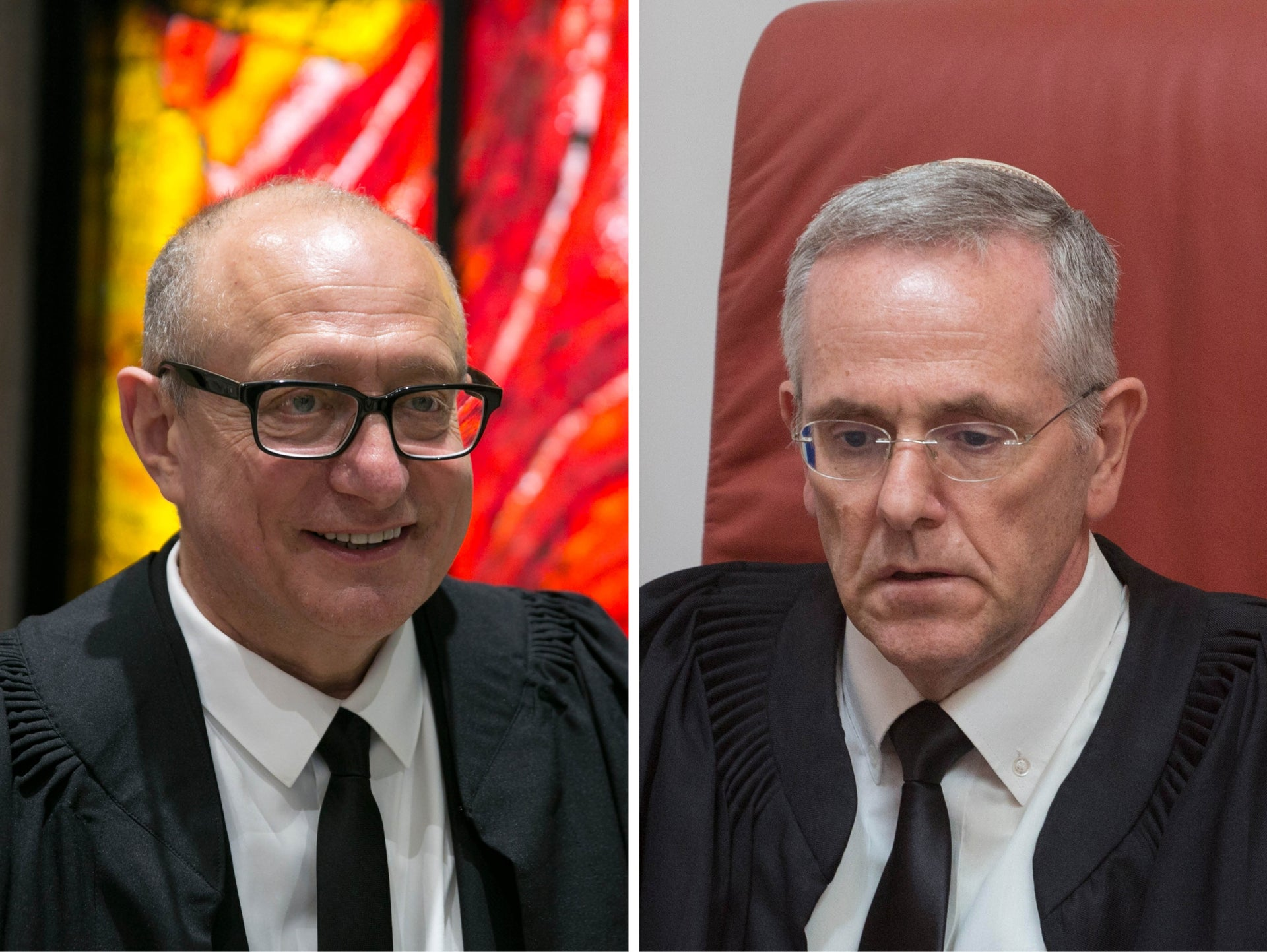 Supreme Court Justices Alex Stein, left, and David Mintz. Ruled against intervention in the rabbinical court's judgment.