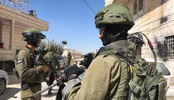 Israeli soldiers in the West Bank village of Beit Fajjar, August 9, 2019
