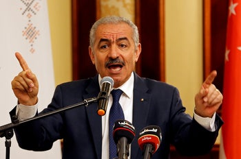 Palestinian Prime Minister Mohammad Shtayyeh speaking in Jericho in the West Bank, July 3, 2019.