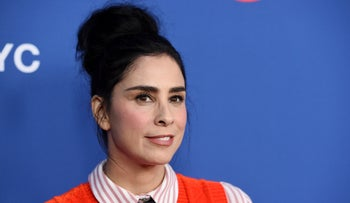 "Sarah Silverman poses before an Emmy For Your Consideration event for the Showtime series ""Who Is America?"" at Paramount Studios, Wednesday, May 15, 2019."