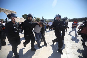 Clashes between police forces and Muslim worshipers on Temple Mount, August 11, 2019.
