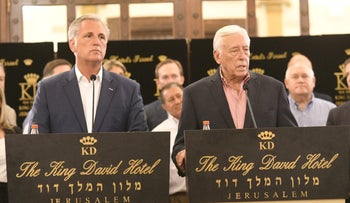 House majority leaders Kevin McCarthy (Republican of California) and Steny Hoyer (Democrat of Maryland) at a press conference in Jerusalem, August 11, 2019.