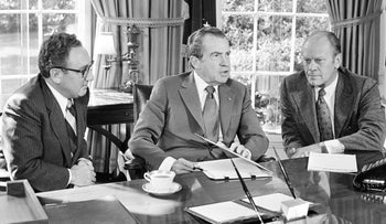President Richard Nixon, center, speaking with Secretary of State Henry Kissinger and then-vice presidential nominee Gerald R. Ford, right, in the Oval Office of the White House, Washington, October 13, 1973.