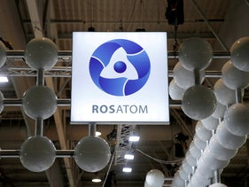 The logo of Rosatom Corp. at the World Nuclear Exhibition (WNE), the trade fair event for the global nuclear community in Villepinte near Paris, France, June 26, 2018.