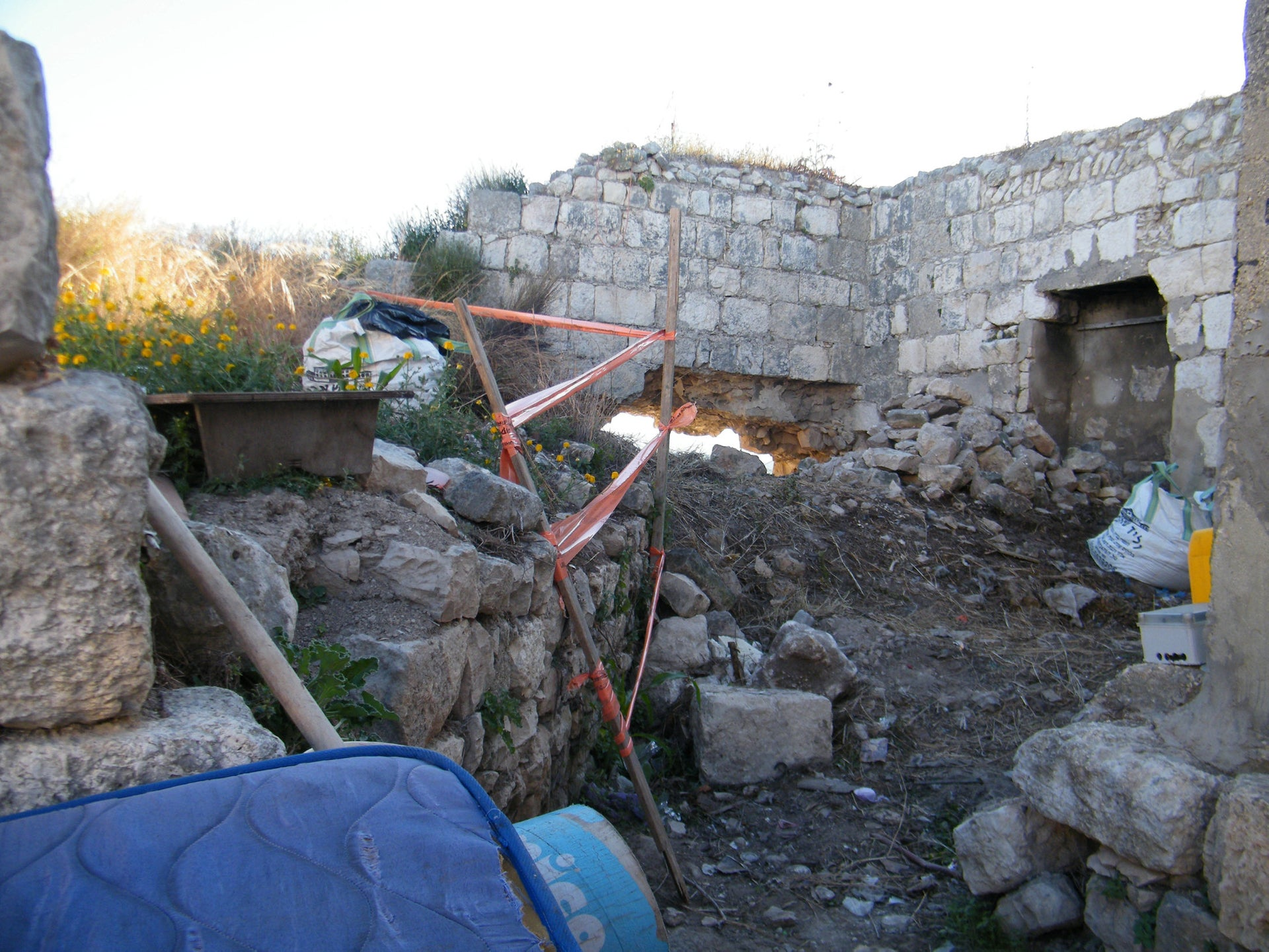 How the damage to the Crusader castle wall looked from inside