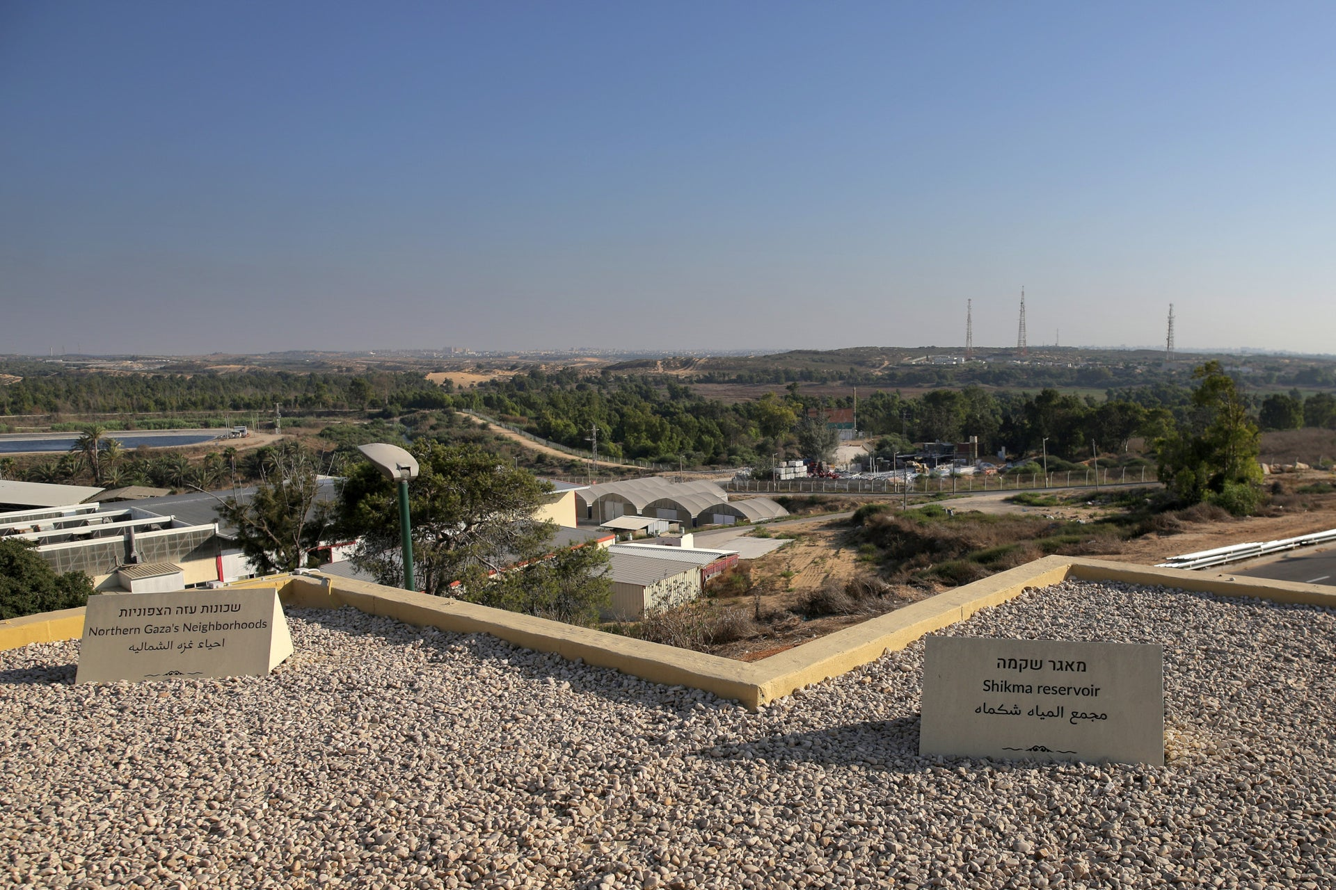 A view of Gaza's northernmost neighborhoods from the roof of Beit Alami (Alami House) in Zikim, southern Israel, August 2019.