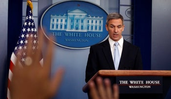 Acting Director of United States Citizenship and Immigration Services Ken Cuccinelli, speaks during a briefing at the White House, in Washington, on Monday, August 12, 2019.