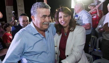 Labor chief Amir Peretz and his No. 2, Orli Levi-Abekasis kick off their election campaign in the commercial center of Ofakim, southern Israel, August 13, 2019.