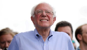 2020 Democratic U.S. presidential candidate and Senator Bernie Sanders before speaking at the Iowa State Fair in Des Moines, Iowa, U.S., August 11, 2019.
