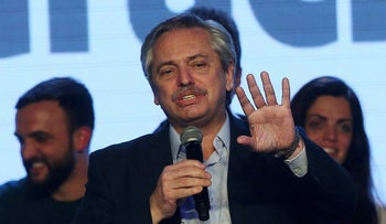 Presidential candidate Alberto Fernandez speaks during the primary elections, at a cultural center in Buenos Aires, Argentina, August 11, 2019.