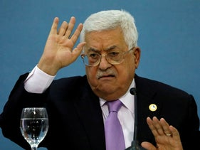 Abbas during a meeting with the Arab media in Ramallah, July 3, 2019.