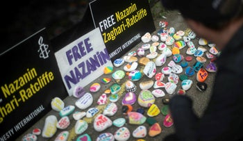 Painted stones in support of Richard Ratcliffe, the husband of detained Nazanin Zaghari Ratcliffe in London, June 22, 2019.