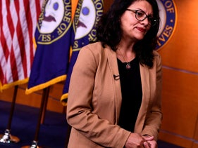 Rashida Tlaib speaks at a press conference in Washington D.C., July 15, 2019.