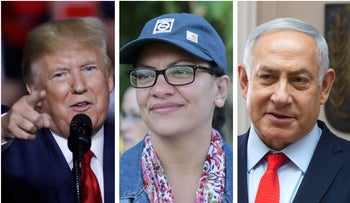 Donald Trump at a campaign rally on Aug. 15, 2019; Rashida Tlaib at an event in Detroit on Aug. 16, 2019; and Benjamin Netanyahu at the Prime Minister's Office on June 20, 2019.