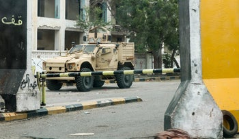 An armored vehicle belonging to forces of the Saudi-led international coalition in Aden, August 17, 2019.