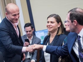 From left, members elect Max Rose, D-N.Y., Elissa Slotkin, D-Mich., Chrissy Houlahan, D-Pa., and Jason Crow, D-Colo., attend the new member room lottery draw for office space in Rayburn Building on November 30, 2018.